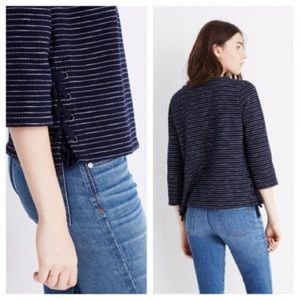 Madewell | Side Lace Navy Stripe Sweater